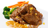 Carrillera de cerdo estofada a la naranja