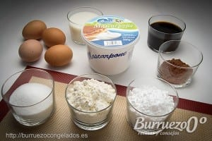 Ingredientes receta tiramisu y queso mascarpone