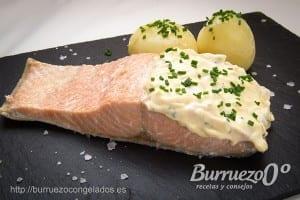 Salmon con salsa tartara de burruezo congelados