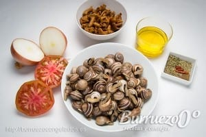 Ingredientes para la salsa picante de los caracoles congelados