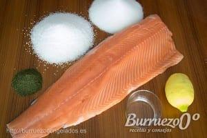 Ingredientes para marinar un salmón