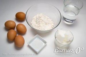 Ingredientes receta pasta choux: agua, harina, manteca y sal.