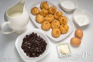 Ingredientes receta lionesas con crema y chocolate