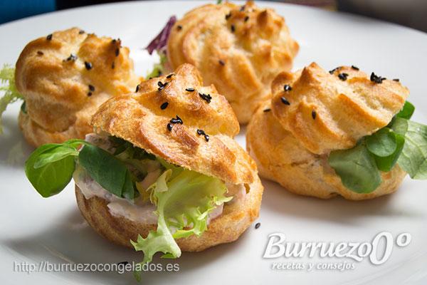 Profiteroles salados, rellenos de anchoas y queso de Burruezo congelados