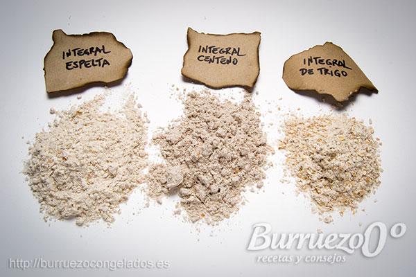 Harina integral espelta, centeno y de trigo.