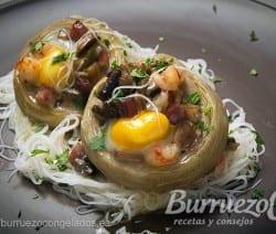 Alcachofas rellenas de setas, jamón y gambas, de Burruezo congelados