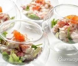 Ensalada de merluza, gambas y salmón, de Burruezo congelados